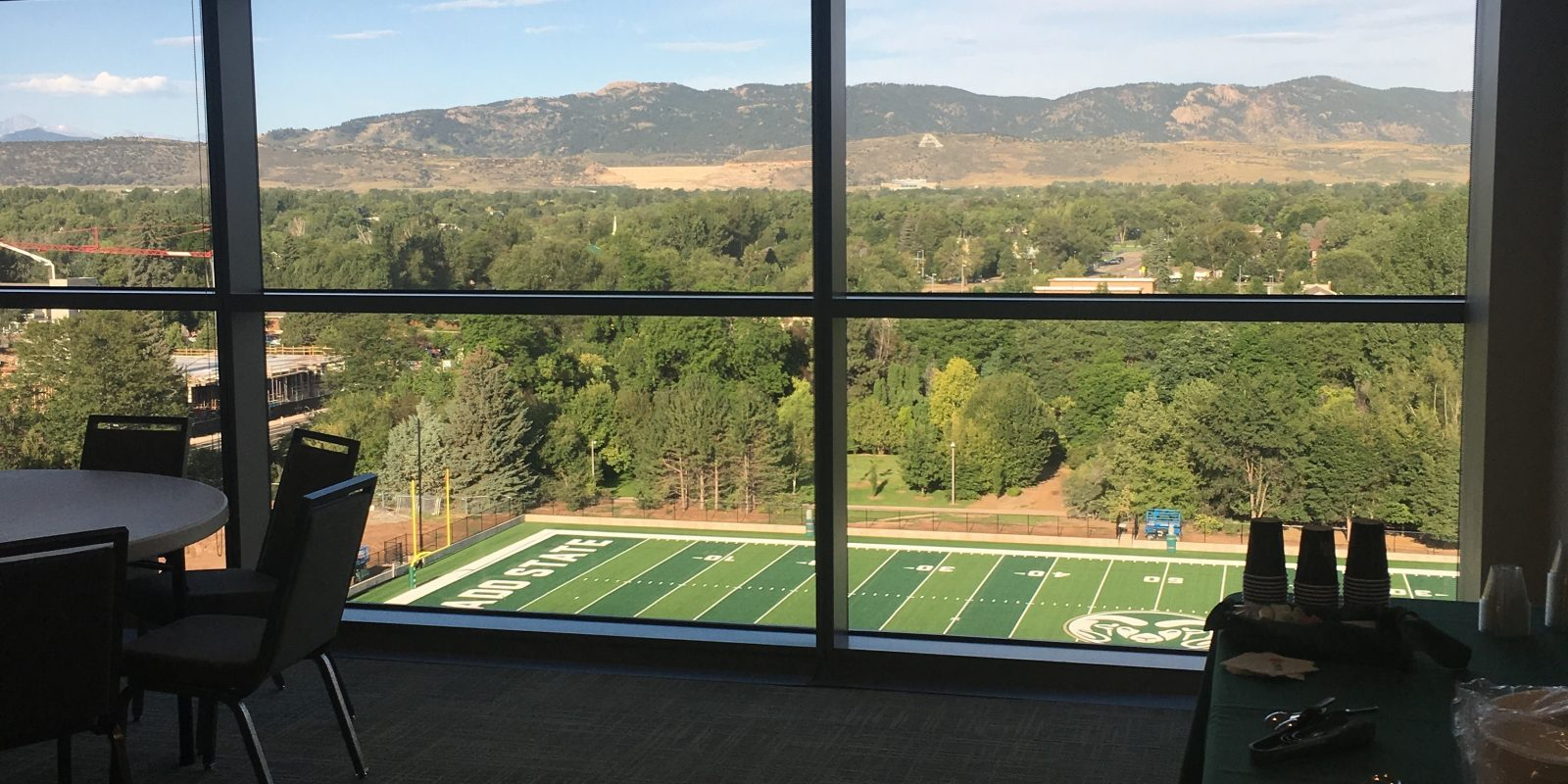 Photo of practice field from meeting room